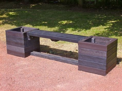 garden bench with planters ribble planter bench recycled plastic