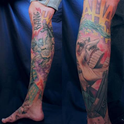 joker tattoo on leg fantasy calf foot leg batman joker comic tattoo by monte