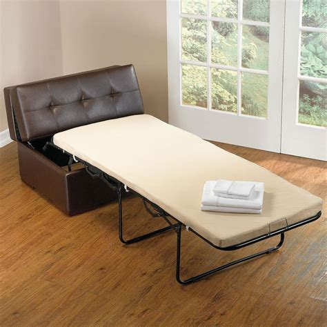 Small Folding Bed Convertible Folding Bed Ottoman Sleeper With Folding Base And Brown Leather Chair For Small