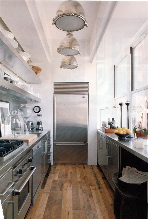 pin galley kitchen design layout on pinterest urban galley kitchen stainless steel cabinets counters