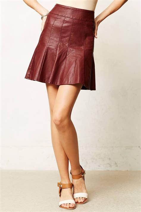 anthropologie vegan leather skater skirt in brown wine