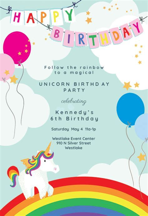Unicorns & Rainbows   Birthday Invitation Template (free