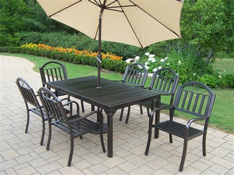 Outdoor Patio Dining Sets With Umbrella Oakland Living 9 Pc Patio Dining Set W 67x40 Quot Rectangular Table Chairs Umbrella And Stand