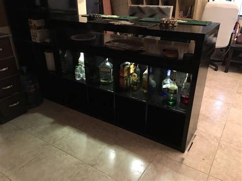 ikea hack bar using kallax unit and lack shelves for black metal bar ikea hackers ikea hackers