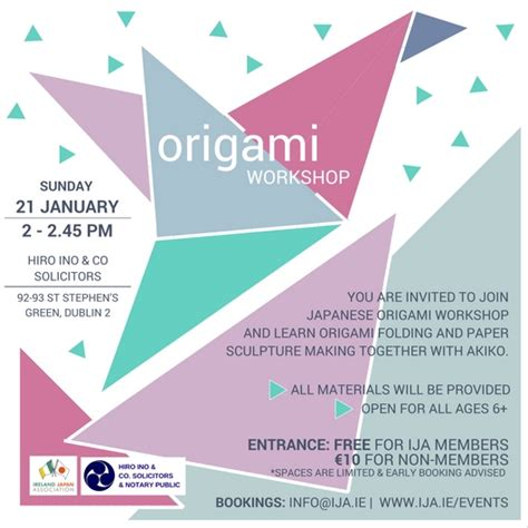 origami workshop ireland japan association origami workshop