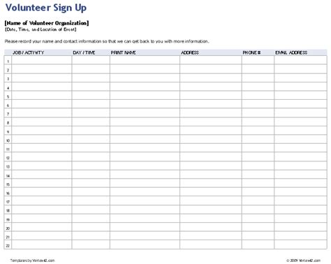 volunteer chart template sign up sheets potluck sign up sheet