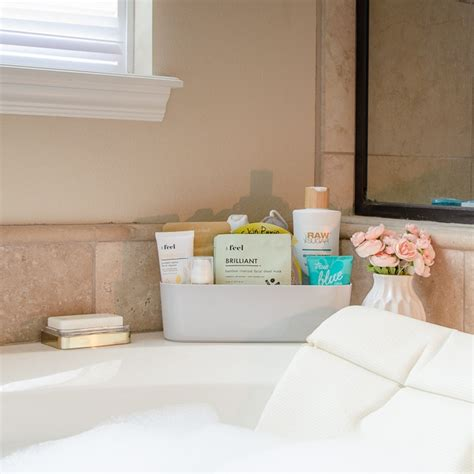 how to organize the bathroom counter tub surround