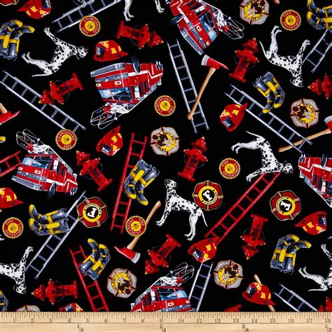 Fireman Quilt Fabric by Timeless Treasures Firefighter Collage Black Discount