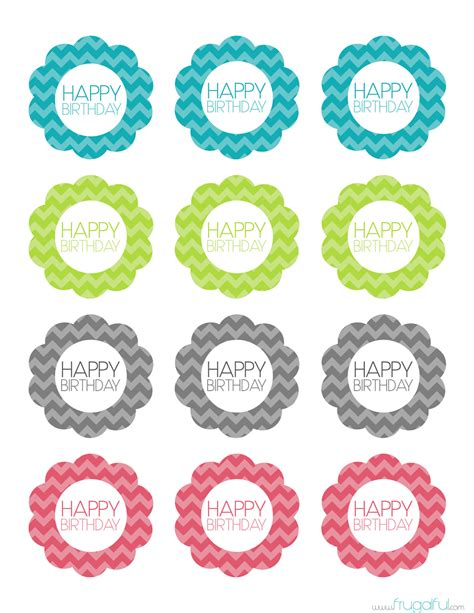 cupcake topper template free printable chevron birthday cupcake topper frugalful