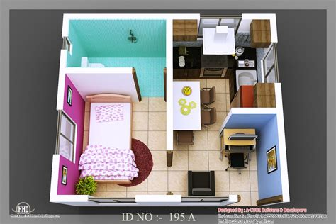 Homes With Inlaw Apartments by 3d Isometric Views Of Small House Plans Kerala Home