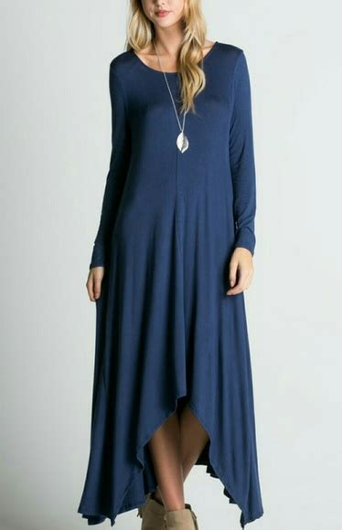 Carolline Longsleeve Maxi Denim Diskon 53 dresses skirts denim blue scoop neck
