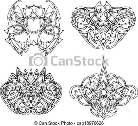 vector illustration of symmetrical knot tattoo designs