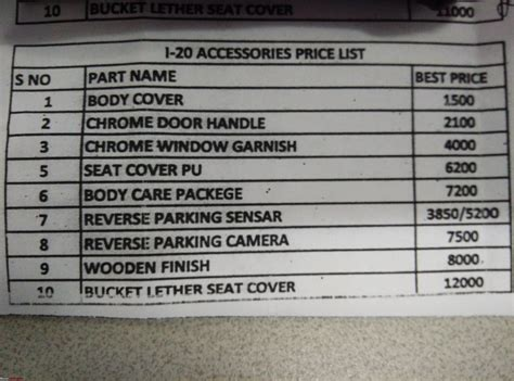 hyundai accessories price list india 92 car accessories price list release date price and