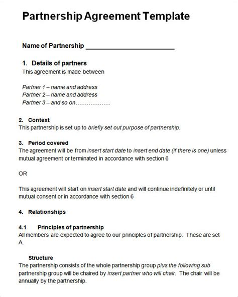 partnership agreement template free sle partnership agreement 13 free documents