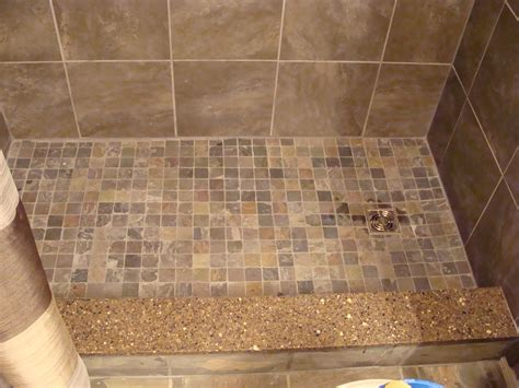 Mosaic Tile Shower Floor by Slate Mosaic Tiles On Shower Floor Quartz Shower Curb