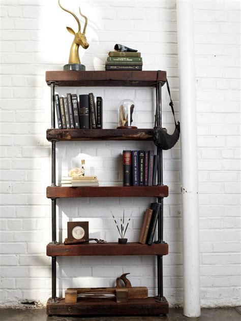 industrial bookshelves industrial rustic bookshelf hgtv
