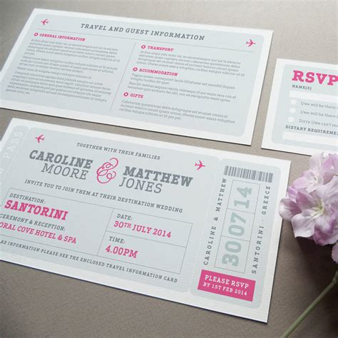 Wedding Invitation Boarding Pass by Airline Boarding Pass Wedding Invitation By Project Pretty