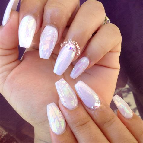Dust In White white hologram dust coffinnails acrylic nails