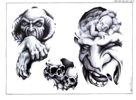 skull tattoo flash designs skull adn design img183 skulls demons flash