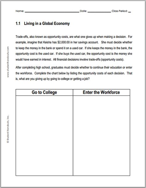 living in a global economy chart worksheet student handouts