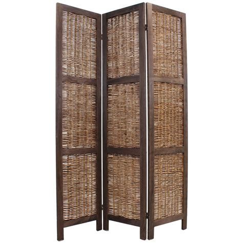 shabby chic wicker room divider screen 3 panel brown