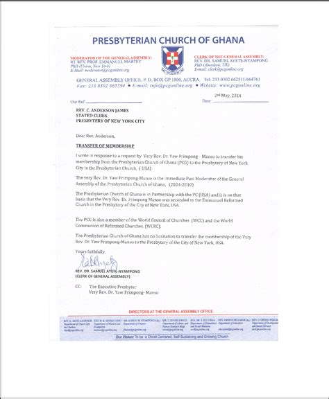 Transfer Request Letter To Minister Rev Frimpong Manso Resignation Saga Eprc Replies