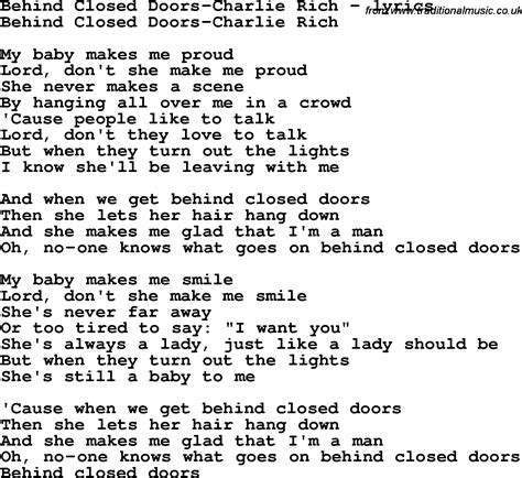 printable lyrics to love is an open door love song lyrics for behind closed doors charlie rich