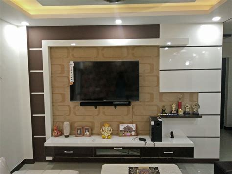 modern stylish elegant brown white tv unit design