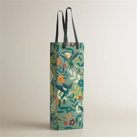 Handmade Wine Bags - gray woodland birds handmade wine bag world market