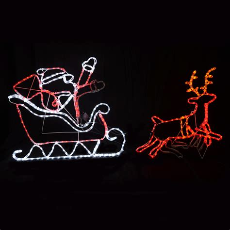 led rope light santa clause in his sleigh with reindeer