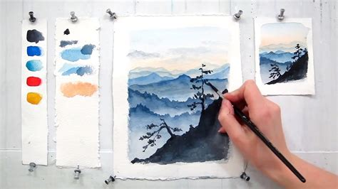 Watercolor Tutorial Mountains | blue ridge mountains easy step by step watercolor
