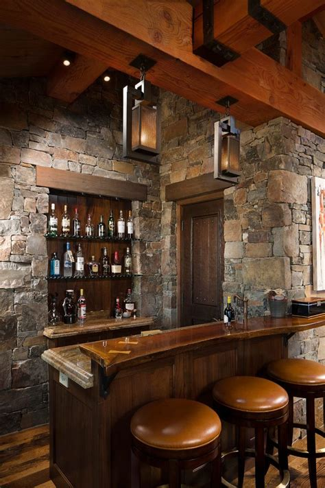 Rustic home bar home bar rustic with floating shelves exposed brick reclaimed wood shelves