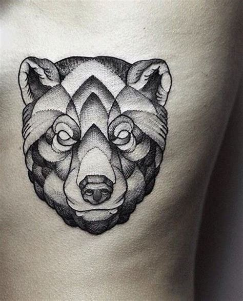 geometric bear tattoo black ink geometric bear head tattoo on side rib tattoo
