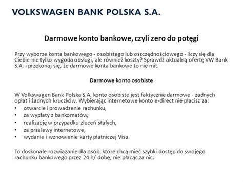 vw bank konto darmowe konto bankowe authorstream
