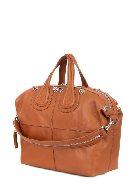 Givenchy Medium Nightingale In Beige Canvas Black Leather 2014 lyst givenchy medium nightingale studded leather bag in brown
