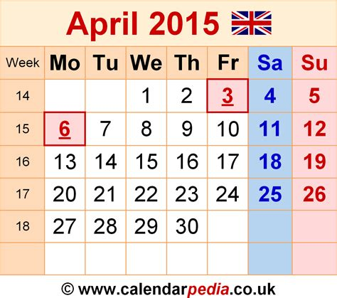 Calendar 2015 April Easter Calendar April 2015 Uk Bank Holidays Excel Pdf Word