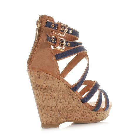 wedge heel gladiator sandals womens xti navy cork wedge heel strappy gladiator sandals