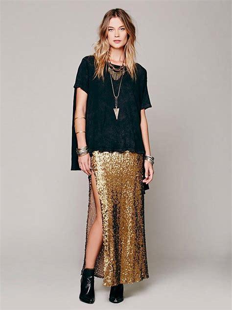 free people sequin skirt nwot moon for free gold high slit mermaid sequin skirt maxi s ebay