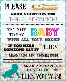 don t say baby sign baby shower ideas