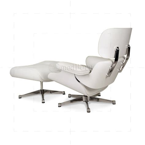 white chair and ottoman eames style lounge chair and ottoman white leather white