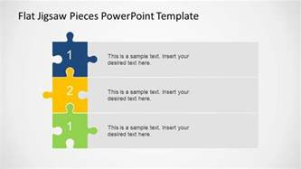 powerpoint template edit three steps vertical diagram using jigsaw pieces slidemodel