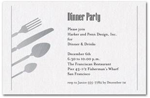 dinner invitation silver utensils on shimmery white invitations
