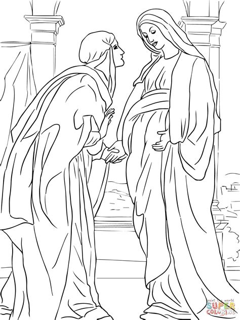 visitation of mary to elizabeth coloring page free