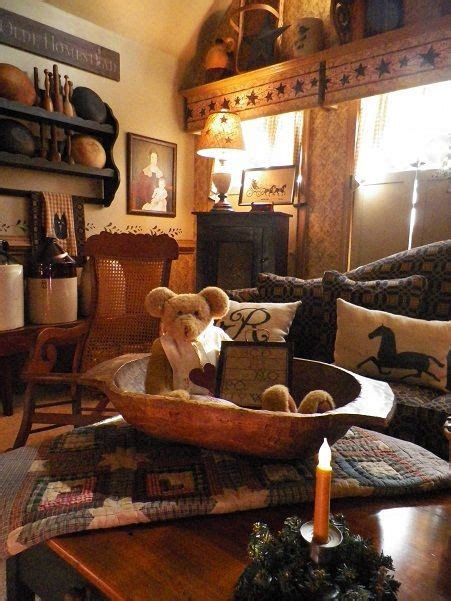 primitive living room minus the teddy family room living room rustic farmhouse