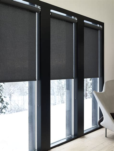 Roller Shades For Windows Designs Woodnotes Roller Blinds Vista Paper Yarn Cotton Fabric Col Black Minimalistic Nordic