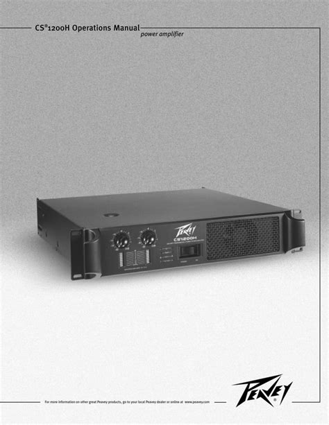 Peavey Cs 1200h Stereo Power Amplifier Download Manuals