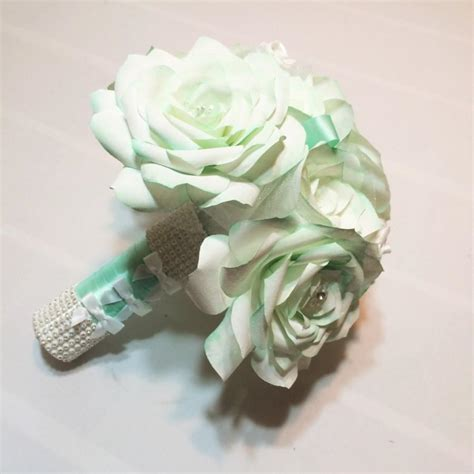 Wedding Bouquet Toss by Mint Green And White Bridal Bouquet Handmade Paper