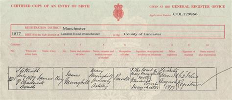 Manchester Birth Records My Great Great Grandparents