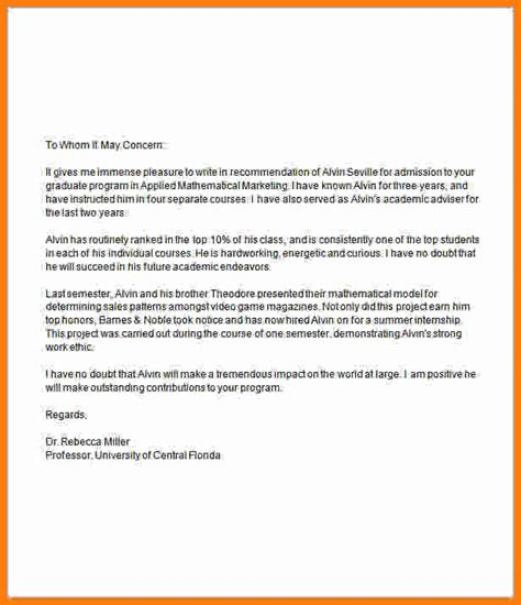 Recommendation Letter Exle For College 10 letter for graduate school 28 images 7 graduate
