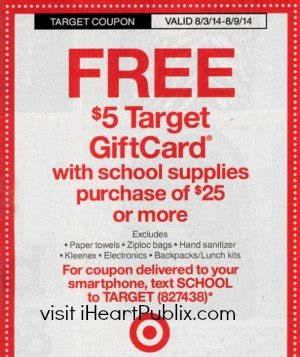 Antique L Supply Promo Code by Upcoming Target Coupon 5 Gift Card With School Supply